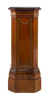 * A George III Style Mahogany Pedestal Height 42 x width 16 1/4 x depth 15 1/4 inches.