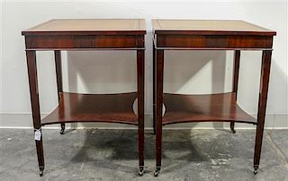 A Pair of Regency Style Side Tables Height overall 26 1/2 x width 20 x depth 20 inches.