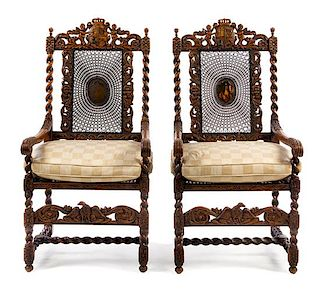 * A Pair of Charles II Style Walnut Armchairs Height 51 1/2 inches.