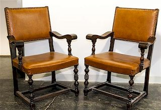A Set of Four Jacobean Revival Open Armchairs Height overall 40 1/2 inches.