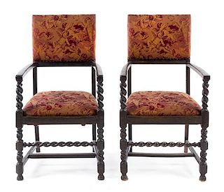 A Pair of Oak Open Armchairs Height 42 1/2 inches.