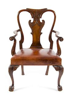 A Queen Anne Style Walnut Side Chair Height 42 inches overall.