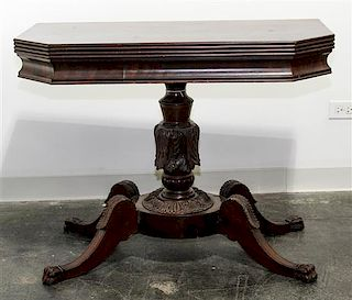 * An American Empire Style Mahogany Flip-Top Table Height 29 x width 35 1/2 x depth 19 1/4 inches.