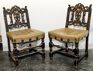 A Set of Six Renaissance Revival Dining Chairs Height 36 inches.