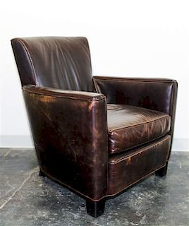 A Leather Upholstered Armchair Height 32 1/2 inches.
