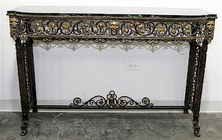 * An Art Deco Style Wrought Iron and Marble Console, attributed to Oscar Bach Table Height 32 1/2 x width 49 1/2 x depth 16 inches.