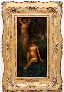 Attributed To Edgar Scudder Hamilton, (American, 1869-1903), Two Nudes in a Landscape