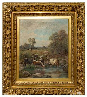 L. Rebecca Knox, (American, 20th century), Cows Drinking at the Stream