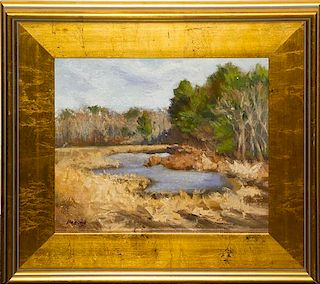 Jayne Bellows, (20th century), Landscape with pond