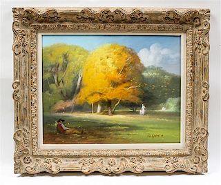 * Joseph H. Sulkowski, (American, b. 1951), Autumn Landscape with a Reclining Man, 1980