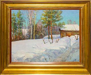 * Artist Unknown, (Russian, b. 1924), Log Cabin in Winter