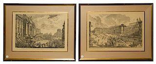 * A Pair of Italian Engravings Each: 15 3/4 x 23 inches.