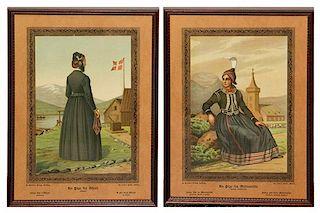 LUND, Frederik Christian (1826-1901). En Pige fra Ofjord. -- En Pige fra Modruvellir. Mounted and framed.