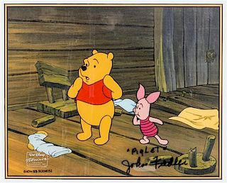 (WALT DISNEY STUDIOS) Celluloid of Winnie the Pooh and Piglet. Size of frame 14 1/2 x 16 3/4 inches. Signed.