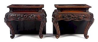 * A Chinese Carved Hardwood Table Converted to A Pair of Side Tables Height 26 3/4 x width 31 x depth 19 1/2 inches.