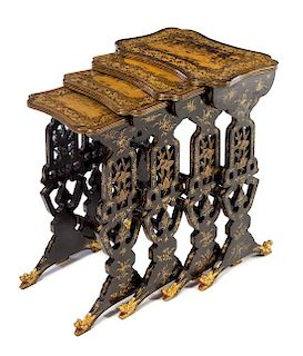 * A Set of Four Chinese Export Lacquered Nesting Tables Height 28 x width 20 x depth 13 1/2 inches.