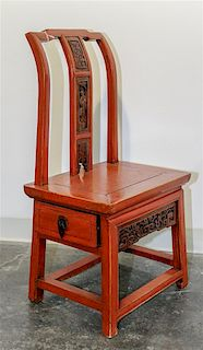* A Chinese Lacquered Side Chair Height 33 inches.