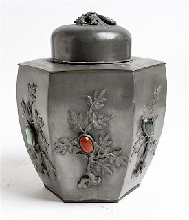 * A Hardstone Inset Pewter Covered Jar Height 8 1/4 inches.