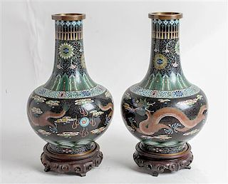 * A Pair of Chinese Cloisonne Enamel Vases Height 12 1/2 inches.