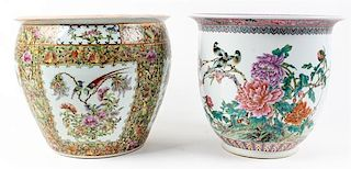 * Two Chinese Porcelain Jardinií†res Diameter of largest 14 1/2 inches.
