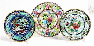 Three Plique a Jour Saucers Diameter of largest 6 inches.