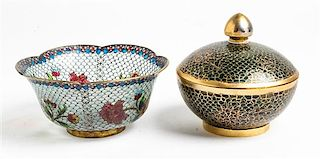 Two Plique a Jour Bowls Diameter of largest bowl 5 inches.