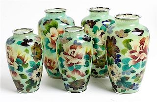 Five Plique a Jour Vases Height of tallest 7 inches.