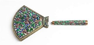 A Chinese Enamel Hand Mirror Height 9 3/4 inches.