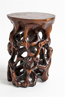 A Chinese Carved Hardwood Stand Height 6 inches.