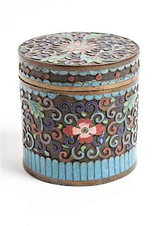 A Chinese Cloisonne Box Height 3 inches.