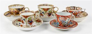 * A Collection of Imari Teacups and Saucers Height of largest 3 x diameter 3 1/2 inches.