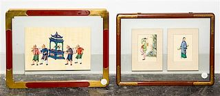 * Three Chinese Paintings on Silk Framed as Two First: 10 1/2 x 7 inches.