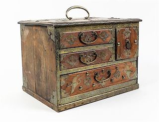 * A Japanese Brass Mounted Jewelry Chest Width approximately 13 inches.