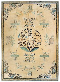* A Chinese Wool Rug 9 feet 10 inches x 7 feet 3 inches.