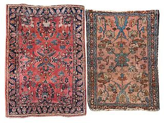 * A Sarouk Mat Smaller 2 feet 6 1/2 inches x 1 foot 11 1/4 inches.