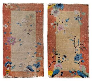 * Two Chinese Wool Mats Largest 3 feet 9 inches x 2 feet.