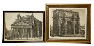 A Group of Two Italian Engravings, After Giovanni Battista Piranesi, 19th Century