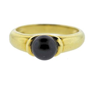 18K Gold Black Pearl Ring