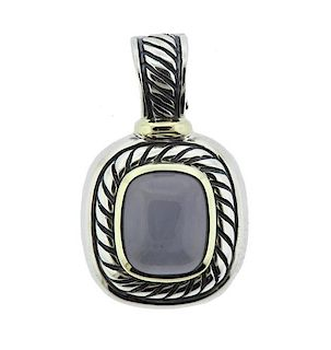 David Yurman 14K Gold Sterling Blue Stone Pendant