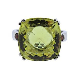 18K Gold Yellow Stone Red Stone Ring