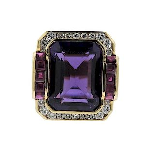 14K Gold Diamond Purple Stone Red Stone Ring