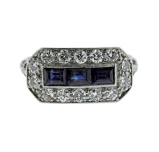 Art Deco Platinum Diamond Blue Stone Ring