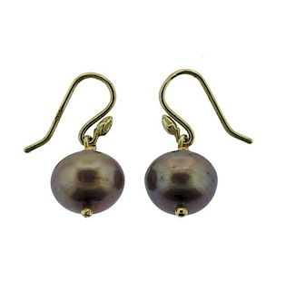 18K Gold Pearl Drop Earrings
