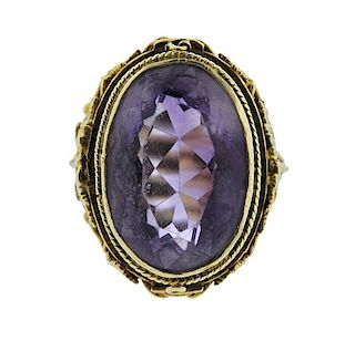 Art Nouveau 14K Gold Purple Stone Ring