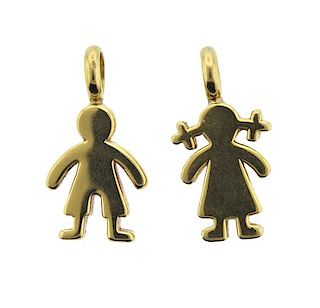 Tous 18K Gold Boy Girl Pendant Lot of 2