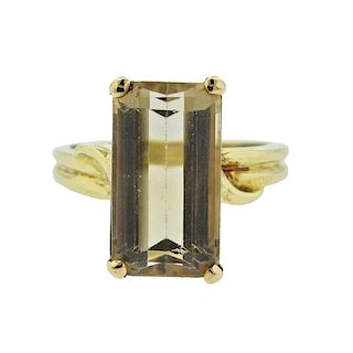 18K Gold Yellow Quartz Ring
