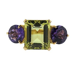 18K Gold Amethyst Peridot Three Stone Ring