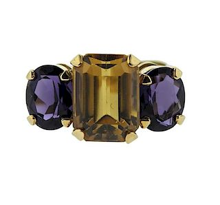 18K Gold Multi Color Quartz Three Stone Ring