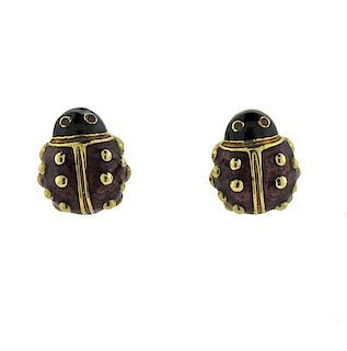 Hidalgo 18K Gold Enamel Ladybug Earrings