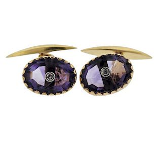 Antique 18K Gold Diamond Purple Stone Cufflinks